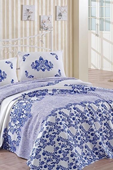 Lady Moda Hüma Mavi Çift Kişilik Pike Takımı Renkli